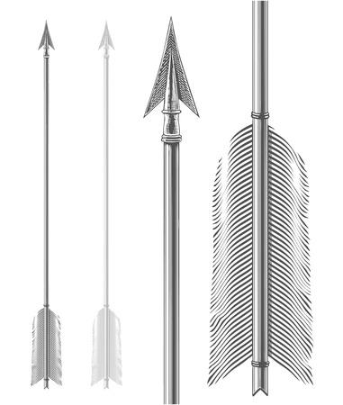 arco y flecha: La flecha de la vendimia en el estilo de grabado