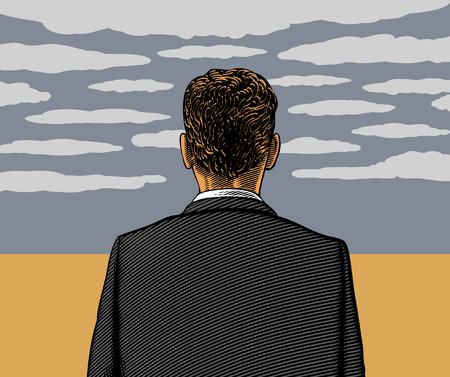 zeitlos: Einsamer Mann mit bew�lktem Himmel