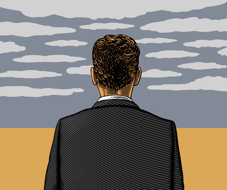 hombre solitario: Hombre solitario con el cielo nublado Vectores