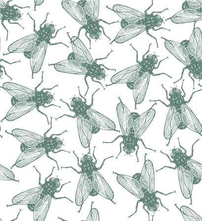 irritation: Seamless vector flies pattern in vintage engraved style