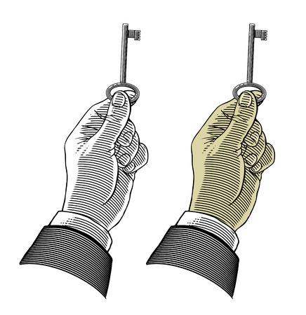 resolving: Mano che tiene una chiave Vettoriali