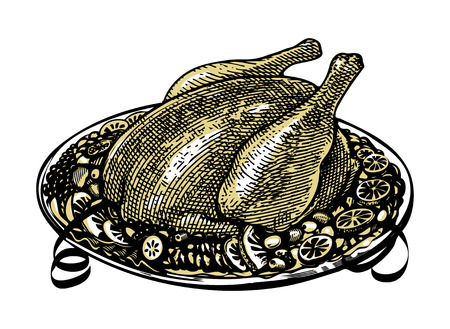Whole Roasted turkey on  decorated platter with garnish Vector