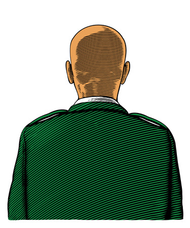 Bald soldier from back or rear view in engraved style Çizim