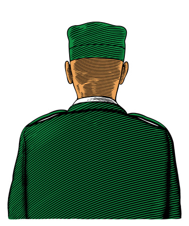 Soldier from back or rear view in engraved style Çizim