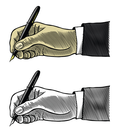 signatory: Hand writing with fountain pen Illustration
