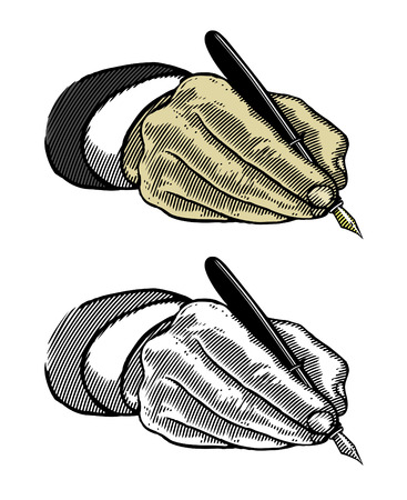 underwriter: Hand writing with fountain pen Illustration