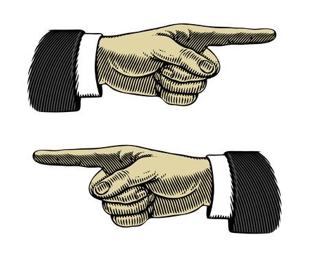 dedo se�alando: Mano con el dedo apuntando a la izquierda y derecha Vectores