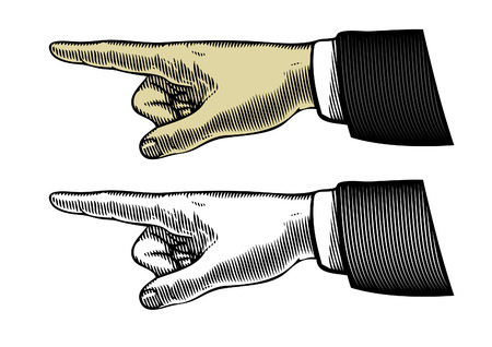 Hand with pointing finger in vintage style Stock Illustratie