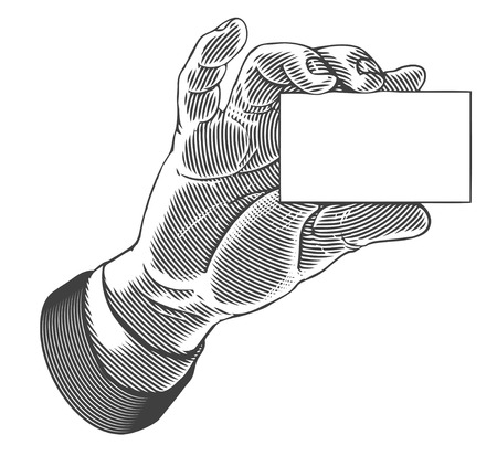 Hand holding white blank card
