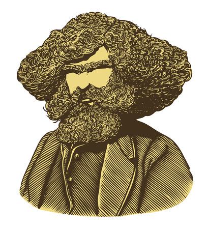 hombre con barba: Hombre barbudo con el pelo largo en el estilo de grabado de la vendimia