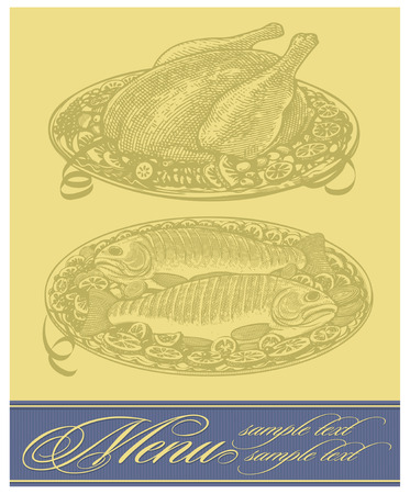Restaurant menu design with roasted chicken and fish Vector