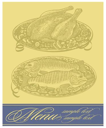 Restaurant menu design with roasted chicken and fish Stok Fotoğraf - 26830610