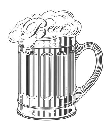 Bier in vintage graveren stijl Stock Illustratie