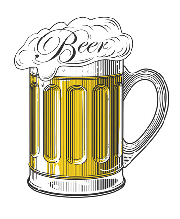 Beer in vintage engraving style Çizim