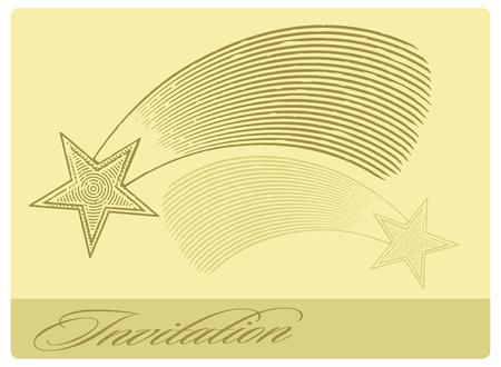 carte invitation: Carte d'invitation avec �toile filante dans le style grav�