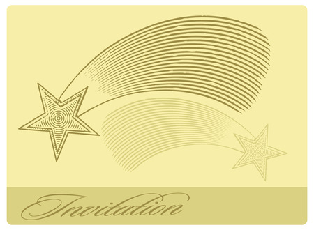 Invitation card with shooting star in engraved style