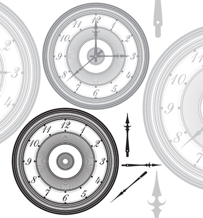Adjustable, vintage clock with separated hands Illustration