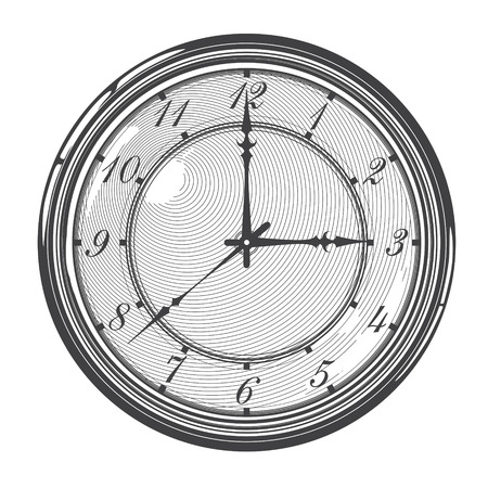 Vintage clock or watch in engraved style     Illustration