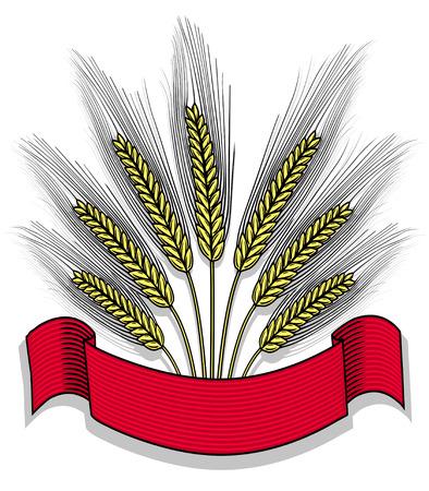 fertility emblem: Bunch of wheat with ribbon