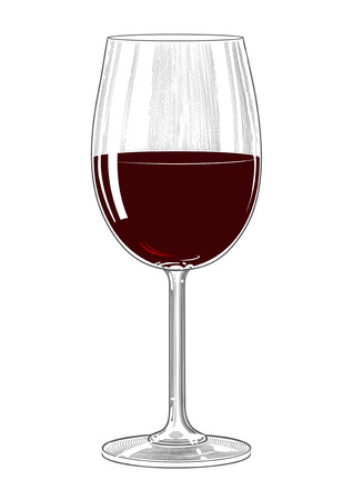 Wine glass in vintage engraving style