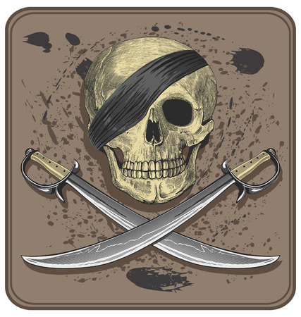Pirate skull with swords  Jolly Roger