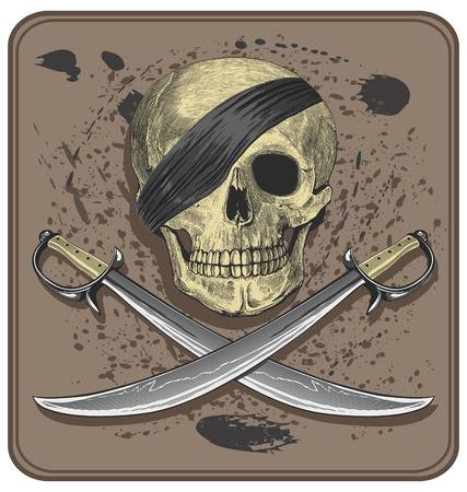 Pirate skull with swords  Jolly Roger Stok Fotoğraf - 27487637