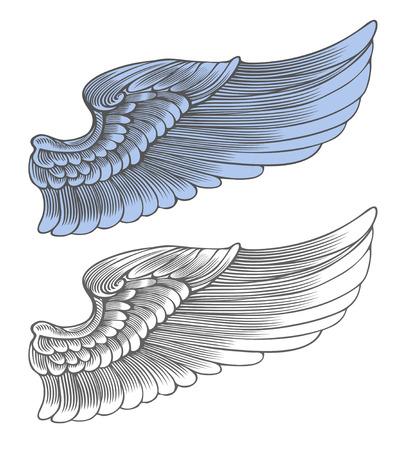engel tattoo: Wing in Gravur-Stil Vektor-Illustration, isoliert, gruppiert, transparenter Hintergrund