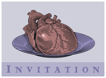 Heart on a plate  Invitation card