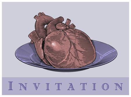 Heart on a plate  Invitation card   Vector