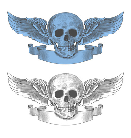 Vector illustration of winged skull and ribbon in engraving style on transparent background