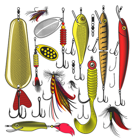 Vector illustration of artificial fishing lures on transparent background