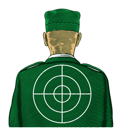 Soldier with target from back or rear view  Vector illustration, isolated, grouped, transparent background Çizim