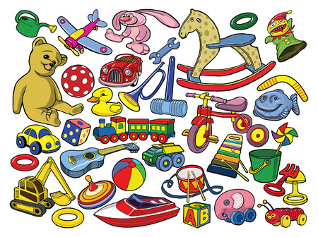 Set of vintage toys. Vector illustration, isolated, grouped, transparent background. All elements are separated. Vector