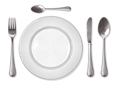 Gabel, Löffel, Messer, Teller in Vintage-Gravur-Stil. Vektor-Illustration, isoliert, gruppiert, transparenten Hintergrund.