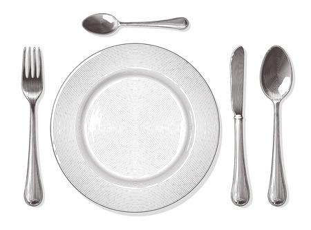 Tenedor, cuchara, cuchillo, plato en el estilo de grabado de la vendimia. Ilustración vectorial, aislado, agrupado, fondo transparente.