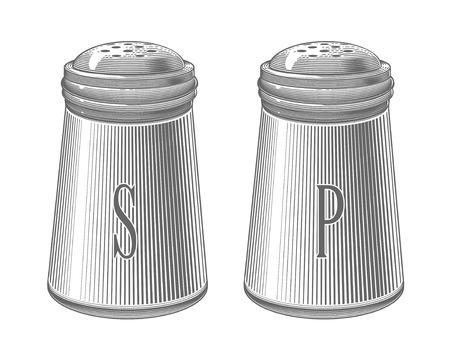 Vector illustration of salt and pepper shakers in vintage engraving style on transparent background. Illustration