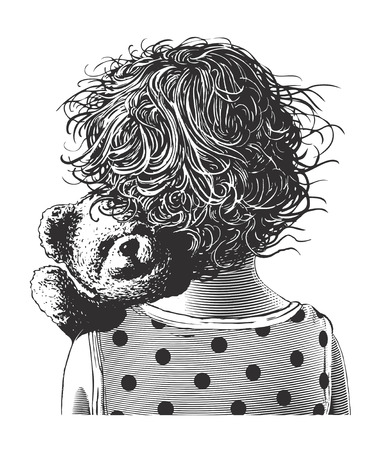 Little girl with teddy bear in engraving style on transparent background Çizim