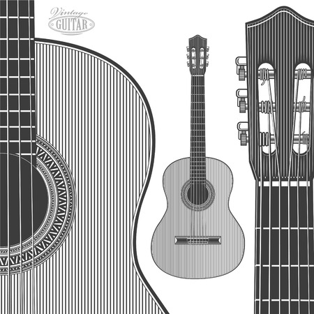 Guitar in engraving style on transparent background Stock Illustratie