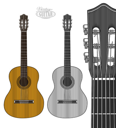 Guitar in engraving style.  Vector illustration isolated grouped, transparent background