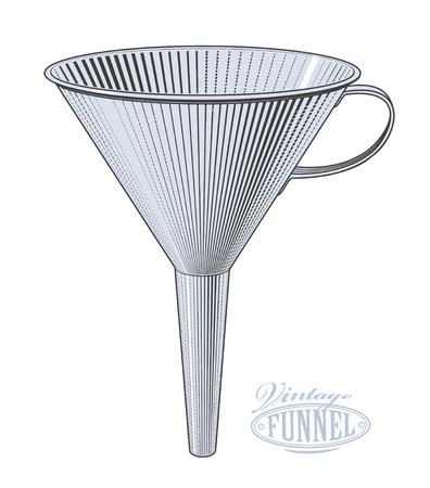 Vector illustration of funnel in vintage engraving style on transparent background