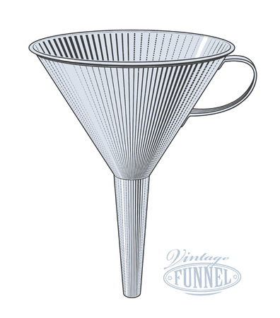 Vector illustration of funnel in vintage engraving style on transparent background