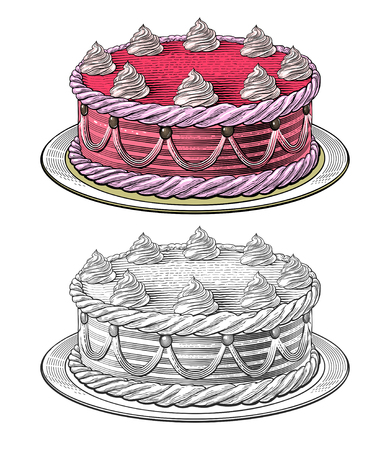 Birthday cake in engraving style, isolated, grouped on transparent background