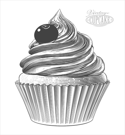 Vector  illustration of a cupcake in vintage engraving style, isolated, grouped on transparent background.