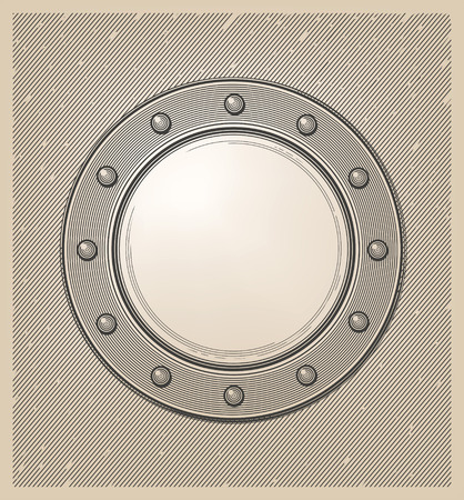 Submarine window or porthole in engraving style Çizim