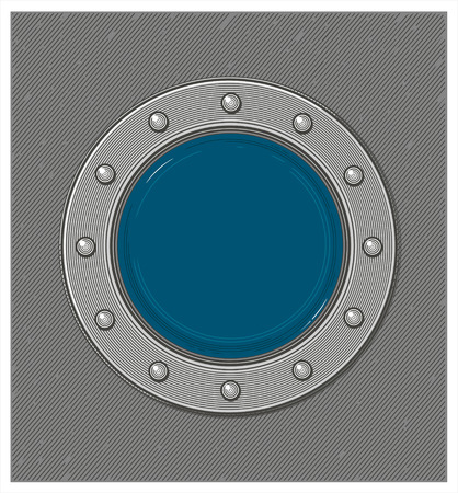 Submarine window or porthole with underwater view in engraving style Çizim