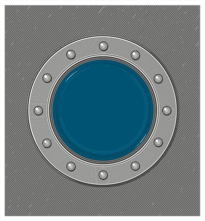 porthole window: Submarine window or porthole with underwater view in engraving style Illustration