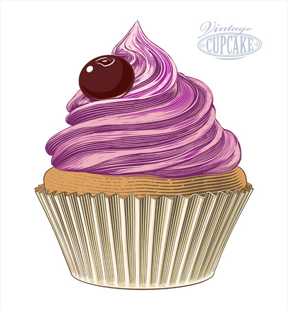 Cupcake in engraving style Illustration