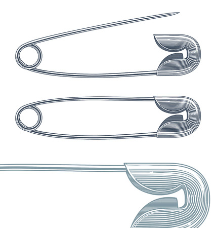 Vector illustration of Safety pin in vintage engraving style isolated on transparent background Çizim