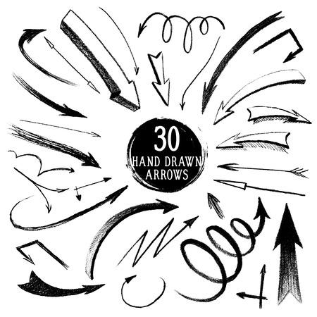 Set of hand-drawn pencil arrows
