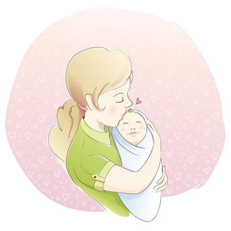 mother holding baby: Woman holding a baby. Pastel colors. Mother Illustration